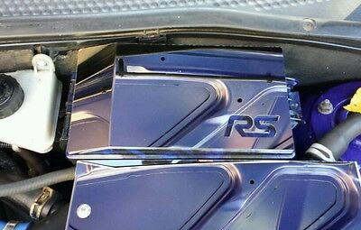 Ford Focus Mk1 RS polished stainless steel fuse box cover chrome *with logo*