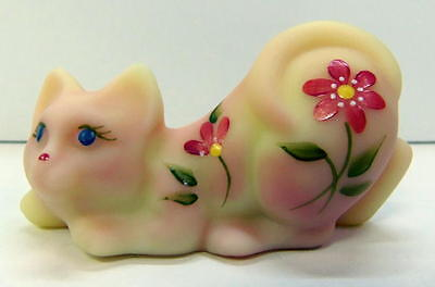 Fenton Burmese KITTY - Kitten with Hand Painted Red Petal Flowers