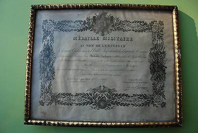 Diplome Cadre Medaille Militaire Second Empire Napoleon Iii