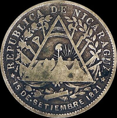 1887H Nicaragua 20 Centavos Silver Coin One Year Type
