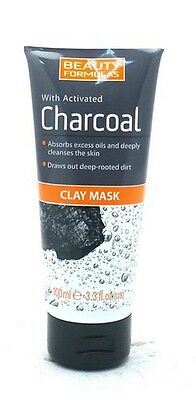 Beauty Formulas Charcoal Clay Mask Scrub - Facial Mask - Detox Cleanser