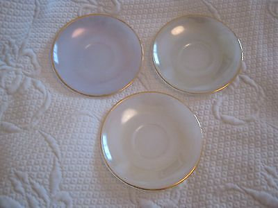 Vintage Arcopal Opalescent Harlequin Glass Saucers x 3