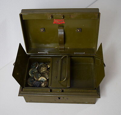 Vintage Veteran Series Metal Box With Brass Military / Firebrigade Buttons