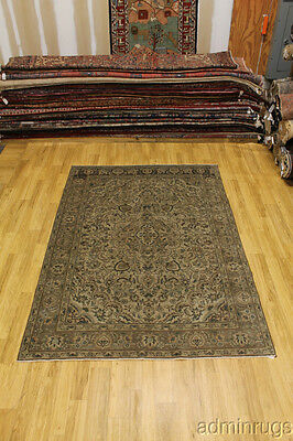Rare Muted Antique Faded Wool Tabriz Persian Area Oriental Rug 7X10