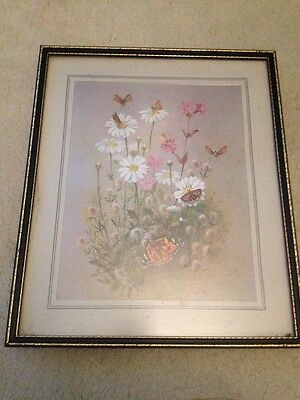 VINTAGE 50's Floral & Butterflies FRAMED PRINT BY Mary Eliot Lacy Signed