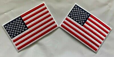 """USA American Flag Embroidered Iron- On Patch (2 patches) 2.25x3.5"""""""