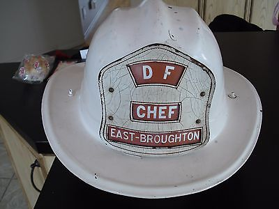vintage cairns brothers EAST BROUGHTON firefighter  CHIEF  leather badge 1950's