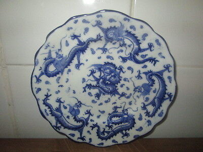 victorian plate in blue and white with dragon designs