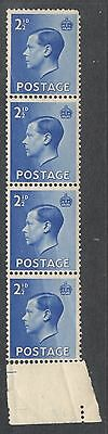 Edward VIII SG460 -2½d Bright Blue - Block of 4 - Mint - With Selvedge