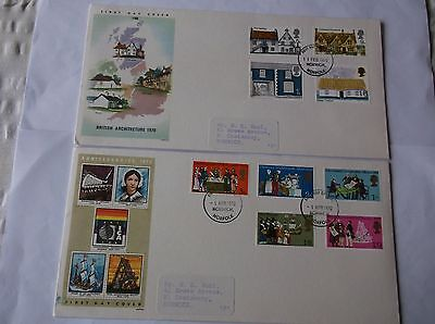 GB Stamps 1970 First Day Covers x 2 labels with address