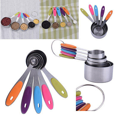 5pcs Stainless Steel Measuring Spoons Cups Kits Kitchen Cooking Scoop Tool Set