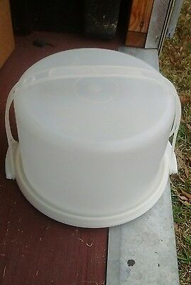 "TUPPERWARE Cake Taker 10"" Round Sheer 3 Pc~WHITE Base Tray +Carrier Handle VTG"