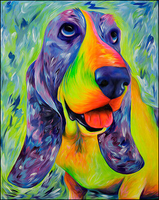 "Dog Art Print ""Daisy Mable"" Basset Hound Art by Krystle Cole"