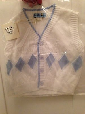Baby Boys Abella Pale Blue And White Sleeveless Cardigan Age 0-3 Months New