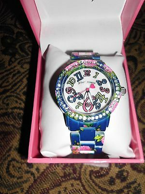 ''nwt'' Betsey Johnson Floral Designer Wristband Watch    $69