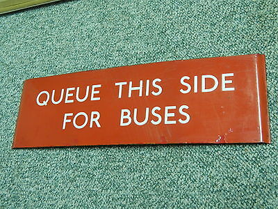 London Transport Enamel Sign Q plate Queue This Side For Buses