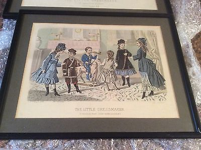 Vintage Print Picture ' The Little Dressmaker' Seamstress Fabric Material Framed