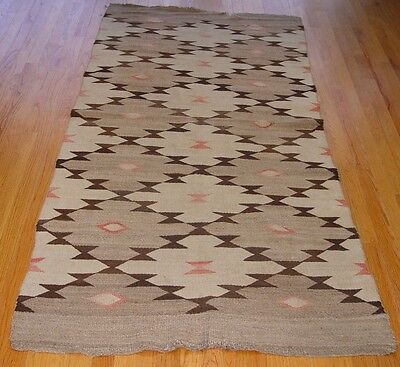 "3'5"" X 7' Antique Hand Woven Native American Navajo 100% Wool Rug"