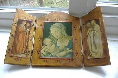 Religious tryptich. Wooden, hinged, Durer images. `Virgin & Saints`. H. 21cms