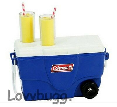 "Blue Cooler Ice Chest & Lemonade Set Mini for 18"" American Girl Doll Food  Wow!"