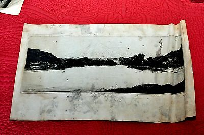 Rare Etching Signed by D.Y.Cameron Lake with Mountain in Background