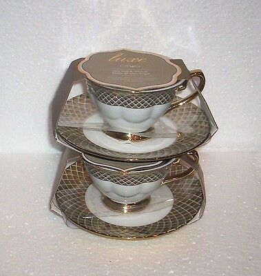 2 Ciroa  Luxe Lattis Gold  Cup and Saucer Sets   NEW