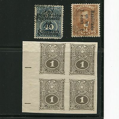 Paraguay 1898 Double Surcharge Imperf Block 4 Mint & Used