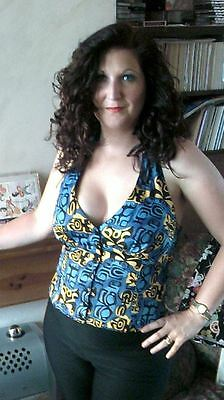 Dixiefried Halterneck Tiki Top Blue and Yellow 1950s/Rockabilly/PinUpGirl