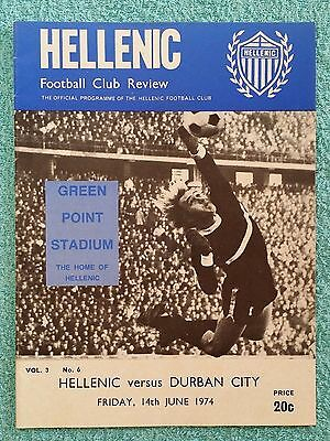 1974 - HELLENIC v DURBAN CITY PROGRAMME - JEFF ASTLE & BOBBY MOORE IN LINEUP