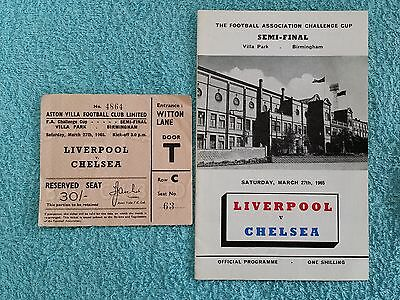 1965 - FA CUP SEMI FINAL PROGRAMME + MATCH TICKET - LIVERPOOL v CHELSEA