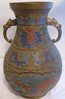 Antique Japanese Bronze Brass Enamel Cloisonne Champleve Urn Vase AWESOME design