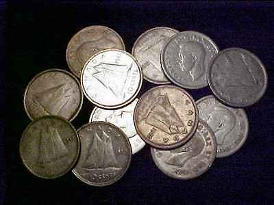 CANADA 1937 - 1949 Silver Ten Cents Lot - 12 Pcs.