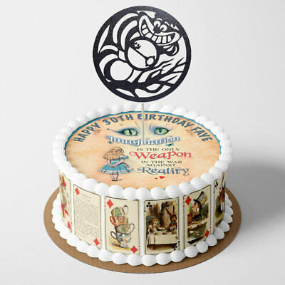 Alice in Wonderland PERSONALISED EDIBLE Icing Cake Wrapper Toppers Round