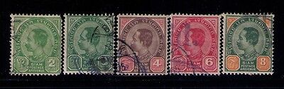 Thailand Siam Stamps Sc # 76;79;81;82;83  Used