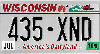 2010 Wisconsin America's Dairy License Plate # 435 Xnd Reduced Bcplateman