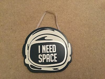 Sainsbury wooden wall hanging childs bedroom decoration plaque 'I Need Space' BN
