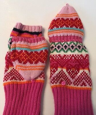 GAP Kids convertible knitted mittens gloves girls L (10) multi-colored