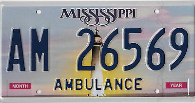 Mississippi Lighthouse Amulance License Plate # Am 26559 Free Shipping