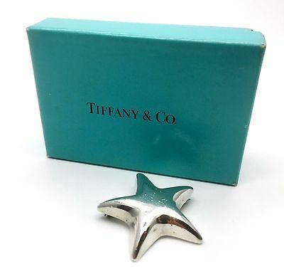 -TIFFANY & Co- EXQUISITE PUFFY STAR PIN BROOCH BADGE .925 STERLING SILVER MEXICO