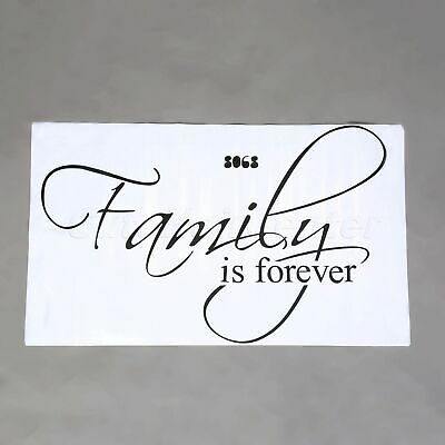 WATERPROOF ARTISTIC WALL Decal Family is Forever Quotes Words Sticker Home  Decor