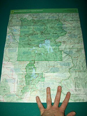 Large Vintage National Geographic Map Yellowstone Grand Teton National Park USA