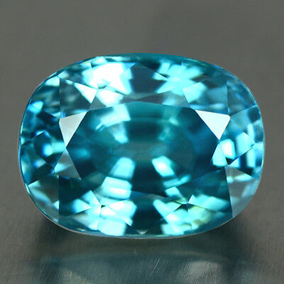 BLUE ZIRCON - 5.22 CT.,100% Natural CAMBODIAN -  9.5 x 7.2 x 6.mm - Exceptional