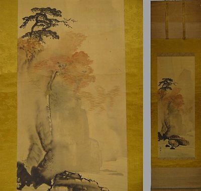YK438 KAKEJIKU Landscape Maple Hanging Scroll Japanese painting Nihonga Picture