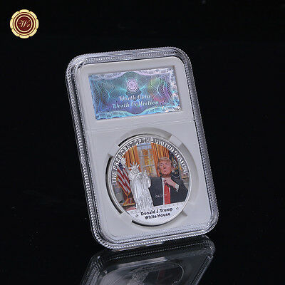 WR arts & crafts ideas Donald Trump Silver Plated coin with Security display box