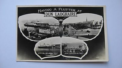 Old Postcard R.4317 Having a Flutter at Dun Laoghaire multi-view Ireland 1955