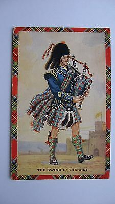 Old vintage Postcard The Swing o' the Kilt Valentine & Sons Pipers and Dancers
