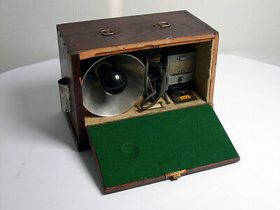 vintage  lamp in a wooden box
