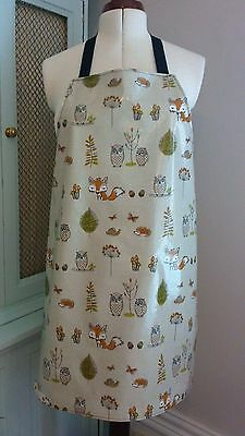 WOODLAND ADULT'S APRON, PVC covered Cotton, wipe clean, Oilcloth, Waterproof