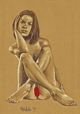 NUDE FEMALE STUDY A4  PRINT of the original pastel drawing