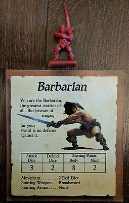 Vtg 1990 HeroQuest Board Game Replacement Figure BARBARIAN w/ Card
